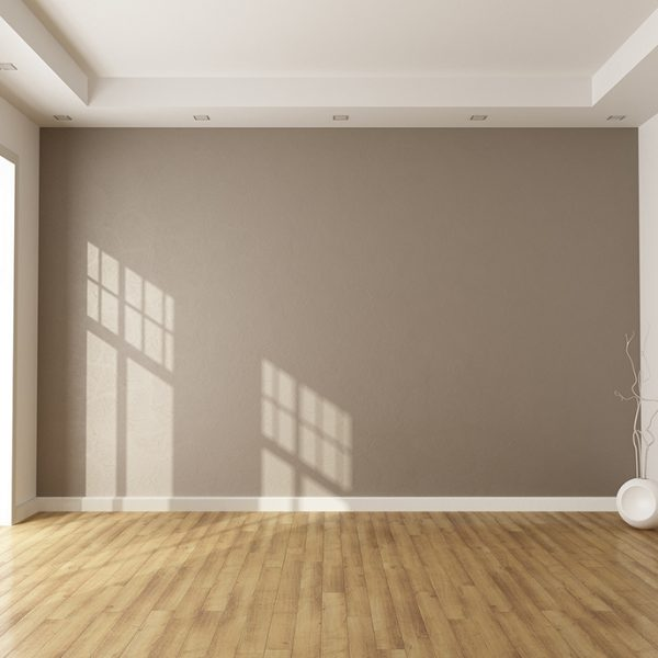 empty brown room with window and parquet - rendering